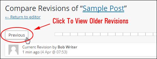 Click 'Previous' to browse previous revisions