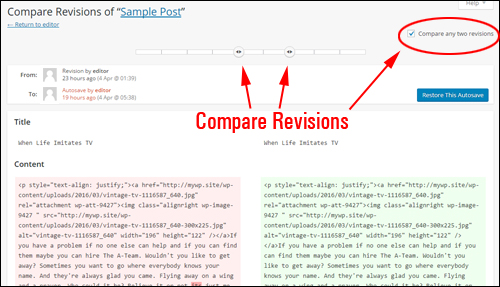 Compare two different post revisions
