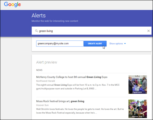 Set up as many alerts as you like with Google Alerts