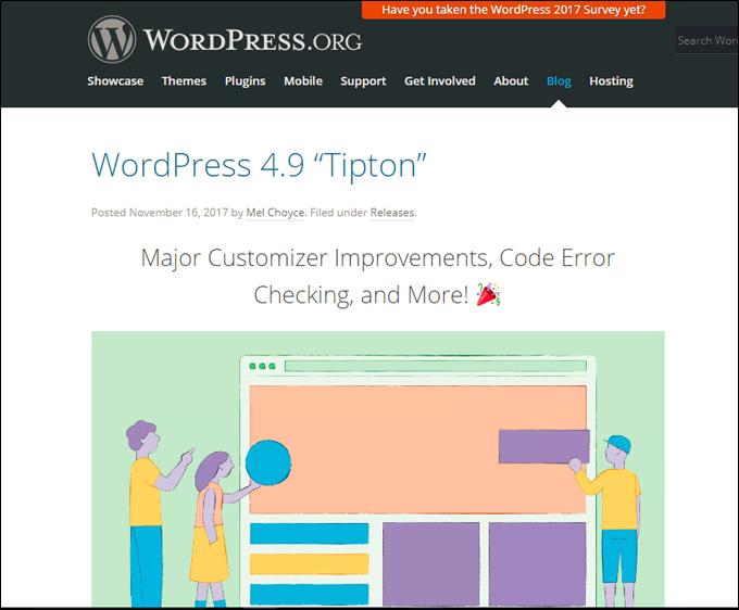 WordPress 4.9 Tipton