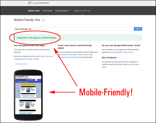 Google Mobile Testing Tool