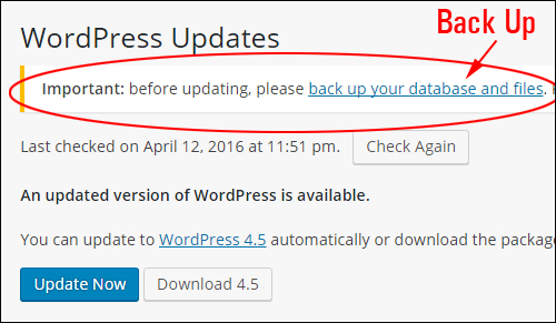 WordPress 4.5 - Important WP Update Tips