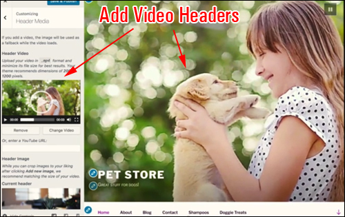 WordPress v. 4.7 - Video Headers